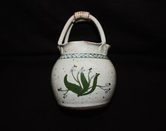Vintage Small Pottery Vase with Handle Handpainted