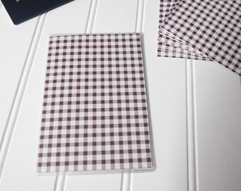 Passport Cover, Brown & White Gingham, Passport  Sleeve, Case, Holder
