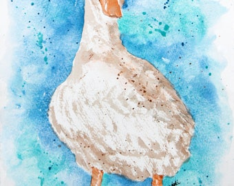 Chuck the Duck Watercolor Print of Original Painting, Watercolor Duck painting, Duck  Painting