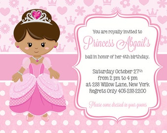 Princess Birthday Invitation, Pink Princess Party Invitation, Princess Invitation, Princess Birthday Invite, PRINTABLE