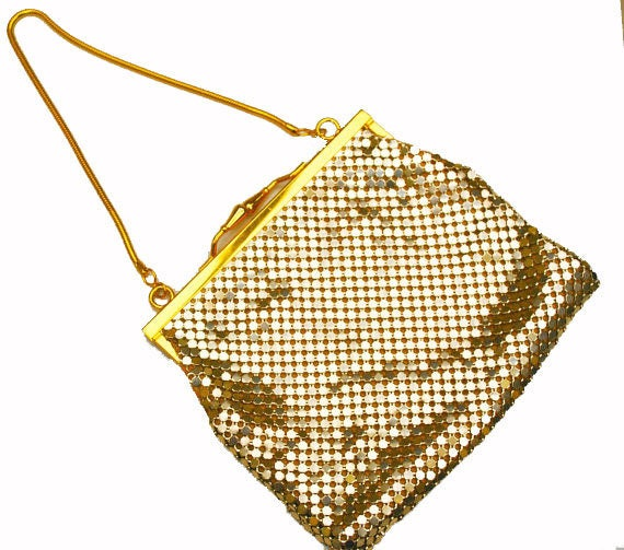 Gold Mesh Evening Purse- Signed  Impo - gold clutch -  Vintage Hand bag