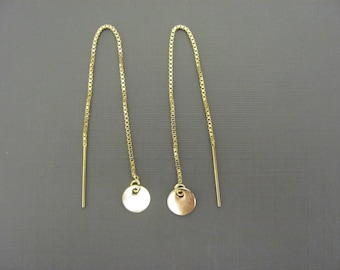 Gold Disc Earrings, Tiny Disc  chain Earrings, Gold Disc Threader earrings,  14K Gold Filled Earrings, simple earrings, jewelery for her