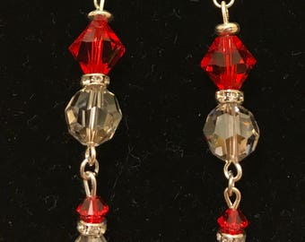 Ruby's Red and Clear Crystal Dangle Earrings