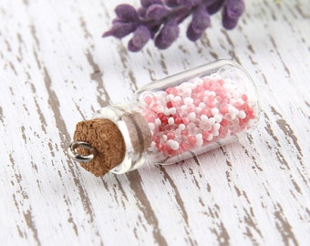 Red-White, Mini Glass Bottle Pendant with Caviar Beads, 1 piece // PND-014