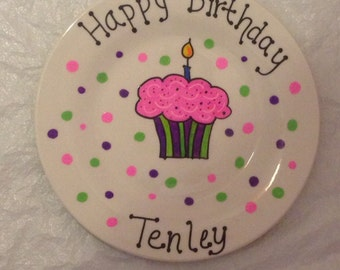 Happy Birthday Plate - Personalized Plate - Hand Painted Plate - Ceramic Plate - Serving Plate - Gift Plate Birthday Gift, Hostess Gift