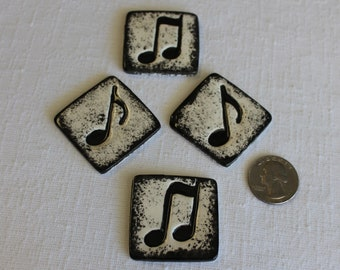 12 Music Note Mosaic Tile Pieces, Mosaic Supplies, Thin Ceramic Mosaic Tiles, Item # E-1258