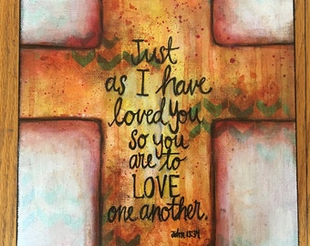 Love One Another mixed media painting on canvas