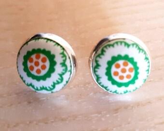 Cute Liberty of London fabric button earrings / silvertone settings / simple stud earrings / green floral fabric earrings / 14mm across