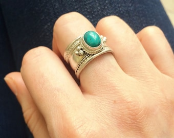 Tibetian vintage Turquoise Gemstone Adjustable ring Bohemian jewelry Gypsy jewelry