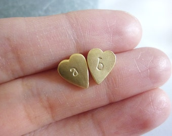 Gold Initial Earrings,Heart Stud Earrings,Gold Heart Earrings,Gold Heart Studs,Initial Earrings,Personalized Earrings,Small Gold Studs