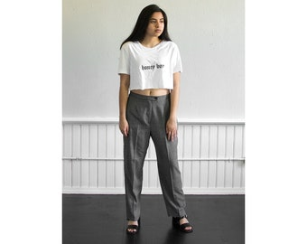 80s Distressed Gingham High Waisted Pants / Fits up to a Large