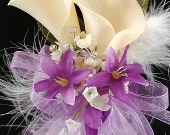 Purple feathered Calla wrist corsage
