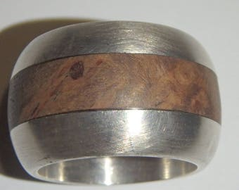 burl wood and sterling silver 925 band ring wide size 6.5