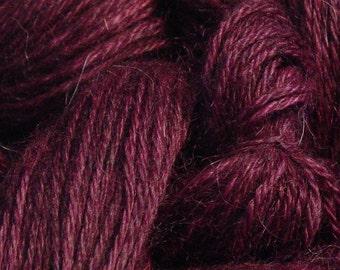 Hand Dyed Alpaca Yarn in Plum - Finger Wt - 250 yds