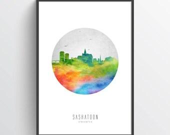 Saskatoon Poster, Saskatoon Skyline, Saskatoon Cityscape, Saskatoon Print, Saskatoon Art, Saskatoon Decor, Home Decor, Gift Idea, CASKSA20P