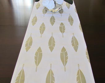 TABLE RUNNER Metalic GOLD Feathers Table Runners Gold Yellow Table Runner 12 x 60 13 x 72 13 x 84 14 x 96