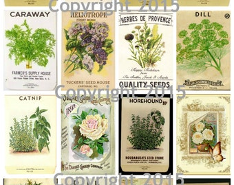 Printed Vintage Victorian Seed Packs Herbs Collage Sheet 102 8.5 x 11 Printed Sheet