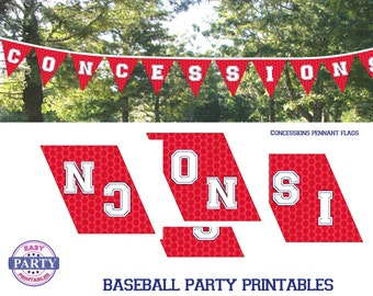 Concession Stand Banner, Instant Download, Baseball Party, baseball printables, sports, team sports, red banner, food sign, snack bar,