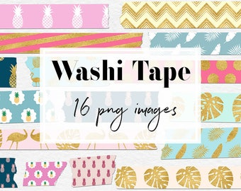 Exotic Washi Tape Clipart, Colorful Tropical Patterns, Palm Leaves, Pineapple, Flamingo, 16 PNG Tapes For Decoration & Labels, BUY3FOR6