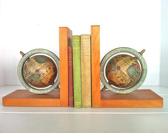 Old World Globe Bookends/Antique Style World Globe Bookends/Vintage World Globe Bookends/Schmid Bros. Globe Bookends/Old World Globe/Globes