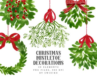 Christmas Watercolor Clipart, mistletoe decoration
