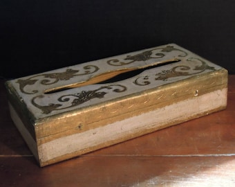 Vintage Italian Pink and Gold Florentine Wood Tissue / Kleenex Box Holder / Made in Italy