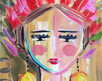 """Warrior Girl Print on Paper or Canvas, """"Warrior Girl 1"""""""