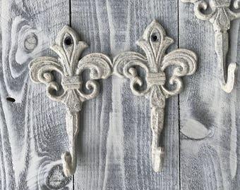 Fleur De Lis Cast Iron Double Hooks Hand Painted Shabby Chic Heirloom White, Wall Mount Rack, Towel Rack, Item #535035502