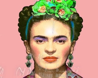 Quilting Crafting Fabric Block Frida Kahlo Green Flowers Mexican Jewelry FK247