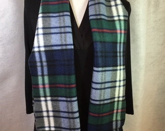 Two blues & Green Plaid  Fleece Scarf