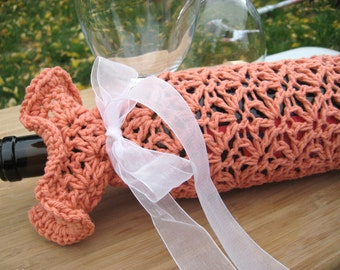 Crochet Wine Tote, Apricot Lace with Ribbon Tie