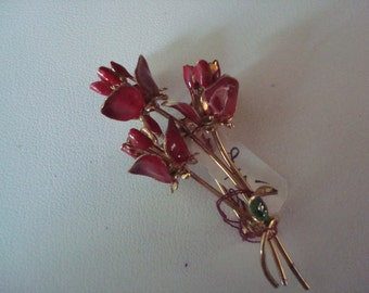 Vintage red and green enamel floral pin