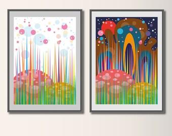Set fairy Tale forest, art print, art print, abstract art poster, children's room art, minimalist print, minimal print