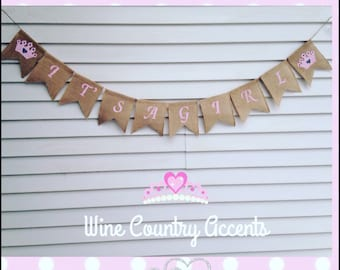 Burlap Banner. It's a Girl Banner. Baby Shower Banner. Rustic Banner. Photo Prop. Gender Reveal Banner. Baby Girl Banner. Baby Shower Decor.