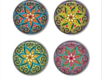 Mandala magnets or mandala pins, mandala stars, refrigerator magnets, fridge magnets, office magnets