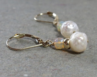 Opal Earrings White Pearls October, June Birthstone 14kt 14 kt Leverback Earrings Gift for Her