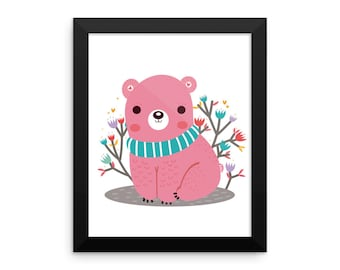 Pink bear Framed poster