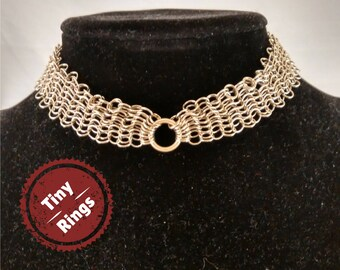 Chainmaille choker, Tiny ring, European Chainmail jewelry, Fantasy choker, Gothic choker, BOHO OOAK, Silver Chainmaille, silver necklace