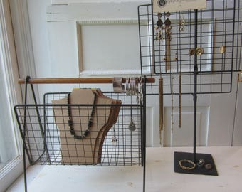 "Vintage Modern Metal Jewelry Displays - Your Choice - 28"" Tall Black Metal Grid Earring Stand // Rack with Necklace Cards - Jewelry Displays"