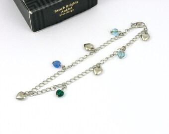 Vintage AVON 'Beach Brights - Blue' Anklet (1996) w Original Box. Size Large Ankle Bracelet. 9-3/8 inches long. Vintage Avon Jewelry