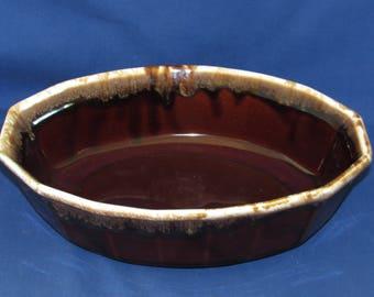 MCCOY SERVING DISH Brown Glaze Pottery Panels #7071