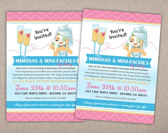 SPA PARTY - Invitation Printable, Rodan and Fields, Spa Shower, Business Launch, Bridal Shower Spa Day Invitation, Mimosas and Mini-Facials