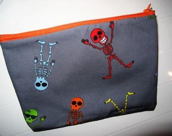 Halloween Pouch Makeup Organizer with colored skeletons