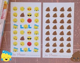 30+ Emoji Kawaii Planner Stickers // Fun, cute emojis / emoticon / poo emoji fun stickers for all planners