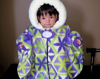 Infant Car Seat Poncho (Purple and Lime Abstract) - Size Small