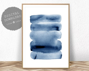 Watercolour Wall Art Print, Abstract Painting, Modern Minimalist, Navy Blue Decor, Printable Digital Download, Large Poster Ink Brush Stroke