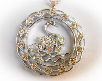 Sarah Coventry  Swan Lake Necklace     Rhinestone Pendant Necklace