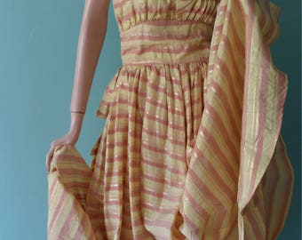 Vintage 40's Gown Formal Ball 1940's Evening Dress Taffeta Full Length Evening Gown Stripe Fabric Yellow Pink Gold