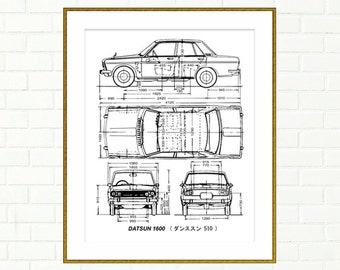 Datsun 1600 4-Door Blueprint, Datsun 510, Blueprint Art, Blueprints, Printable Automotive Decor, Instant Download, Datsun, 8x10, 14x11""