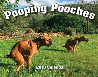 2018 Pooping Pooches Dog Calendar, White Elephant Gag Gift Exchange or Yankee Swap